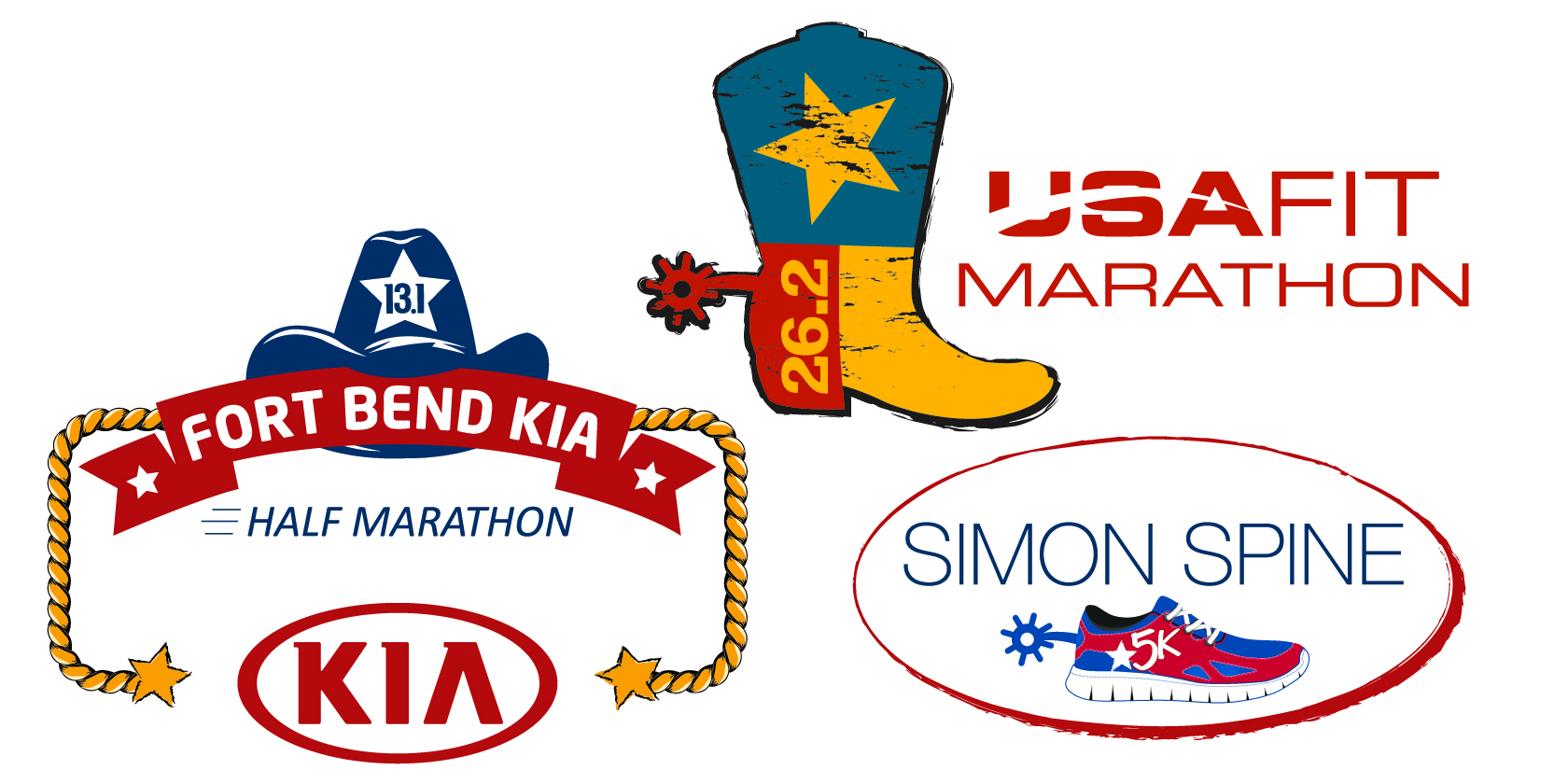 2020 USA Fit Marathon, Fort Bend KIA Half Marathon, Simon Spine 5K